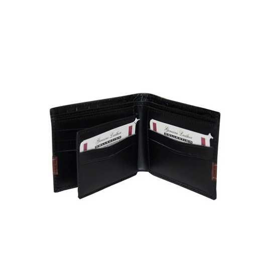 Customized Genuine Leather Crocodile Design Wallet for Men - Black