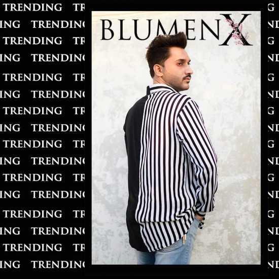 Men's Black N White Strips Duo Turn Down Collar Short Sleeve Shirts Designer...