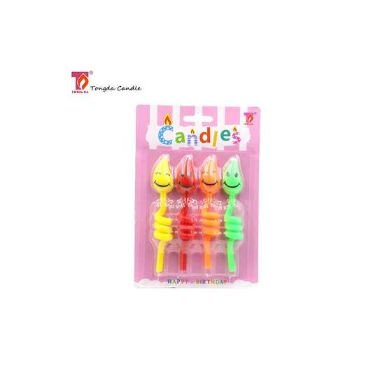 Unusual curly smile face birthday spiral candle