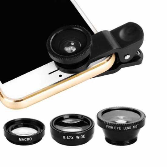 Universal Clip 3 in 1 HD Fish Eye Camera Macro Wide Angle Phone Lens