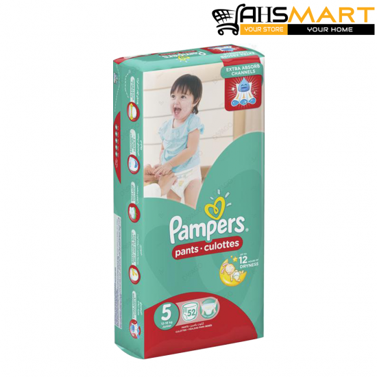 Pampers Pants Diapers Extra Large Size 5, 52 Count