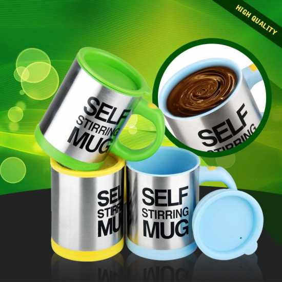 Coffee Mug Creative Stainless Steel Self Stirring With Lid Automatic Mixing...
