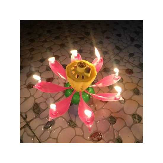 Musical Flower  Birthday Candle With Happy Birthday Sound For Celebration