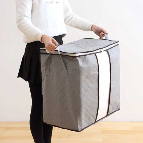 Pack Of 2 Portable Bamboo Charcoal Clothes Blanket Large Folding Bag Storage...