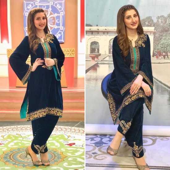 VELVET COLLECTION cotton ginny Embroidered Velvet shirt and  Velvet shalwar