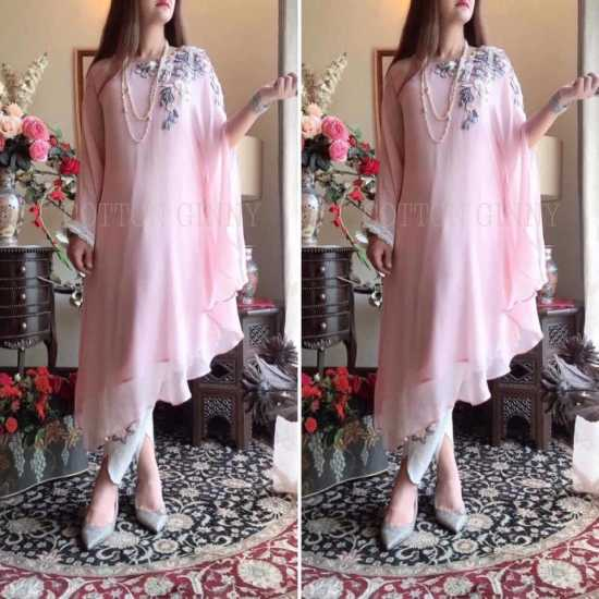Embroidered Chiffon Cape with Undershirt cotton ginny