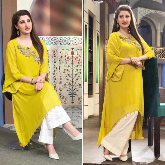 Embellished Pure Chiffon Double Layered Tunic -cotton ginny-yellow
