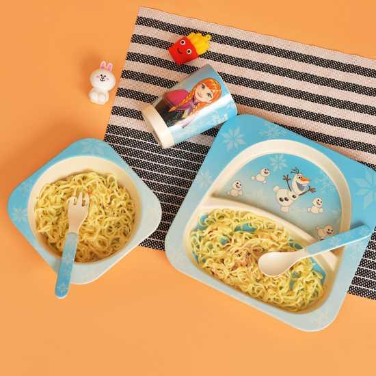Melamine Dinner Plates for Kids- Bamboo Fiber Kids Plates- 5 pc Plastic...