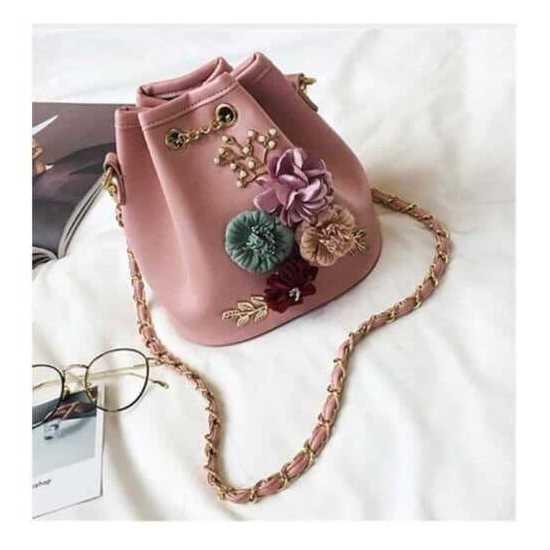 Meloke 2019 Handmade Flowers Bucket Bags Mini Shoulder Bags