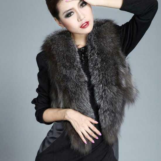 Women Winter Plush Warm Vest Faux Fox