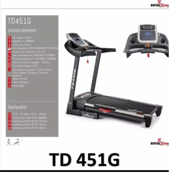 TREADMILLS TD451G 2.5hp motor with 12kg weight capacity LCD windows Display...