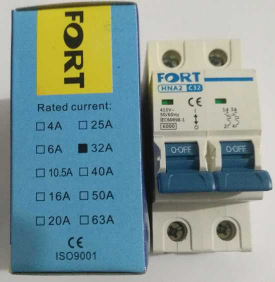 400VAC 2P 30A- 32A Rated Current 2 Pole Miniature Air Switch Circuit Breaker Hot