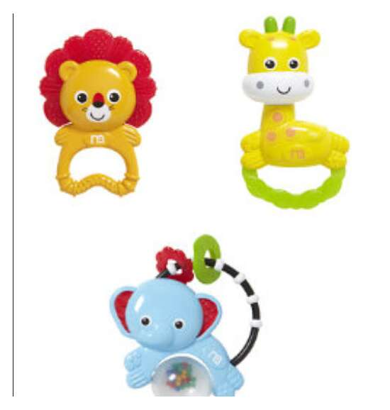 Baby Rattle 3 pc set Mother care Rattle and teethe Animal Friends 2 in 1