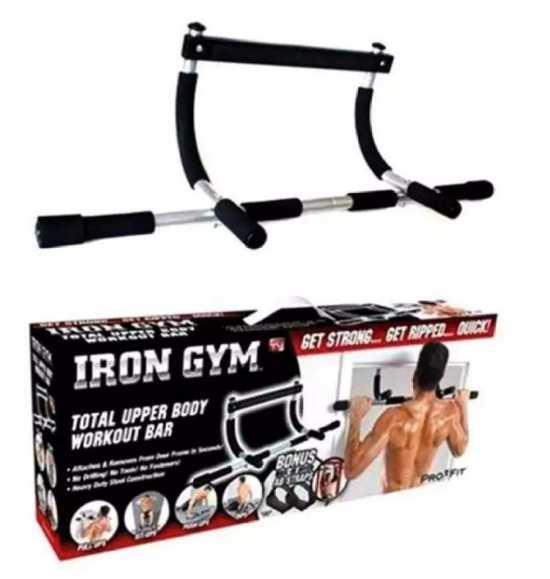 Iron Gym Bar - Upper Body Work Out - Black & Silver