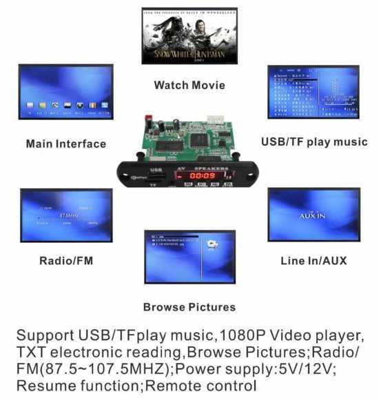 Mp3 Mp4 Mp5 Player Audio Video Bluetooth Board Circuit Kit Module