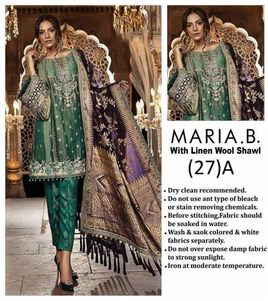 MB- 011 Unstitched Linen 3 Pieces Embroidered Women's Shalwar Kameez Dress...