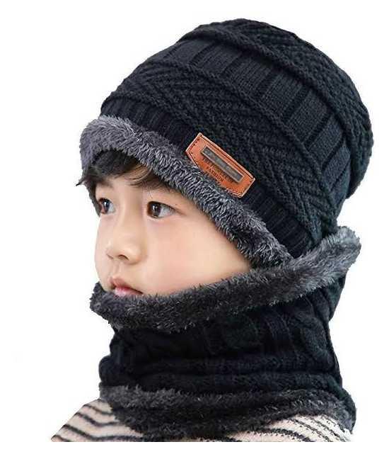 Winter Cap Neck Warmer Beanie Full Set-2 Piece Cap + NeckWarmer