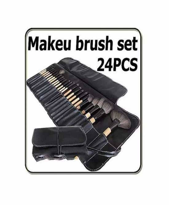 Pack Of 24 - Cosmetic Brushes With Pouch - Black