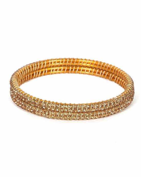 100 Degreez, Dull Golden, Sparkling Bangle Set for Women