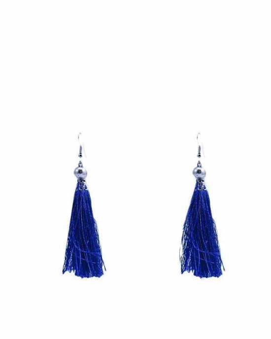 100 Degreez, Blue, Alloy+Thread, Tussle Earrings For Women