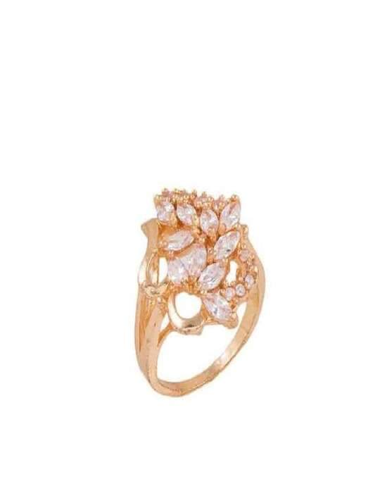 100 Degreez, Golden, Alloy, Zircon Studded Ring for Women