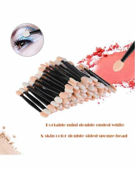 24 Pack Disposable Dual Sided Eyeshadow Brush Sponge Tipped Oval Makeup...
