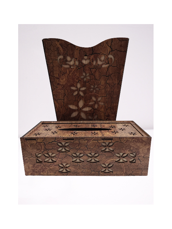 Pack of 2 Dust Bin and Tissue box Wooden Texture