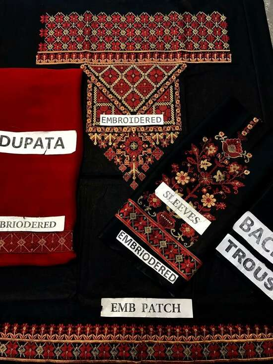 KR-Black Embroidered Lawn Three piece Winter Collection