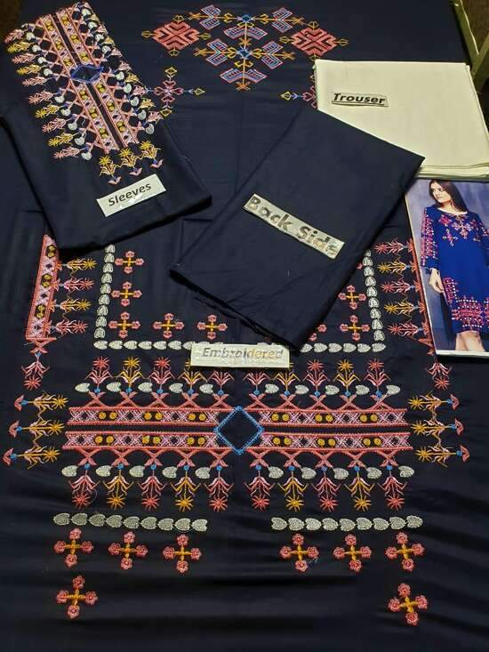 M-45 Blue Embroidered Linen two piece Winter Collection