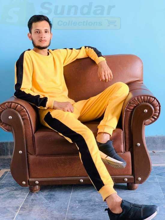 Track Suite in Fleece Stuff Yellow colour