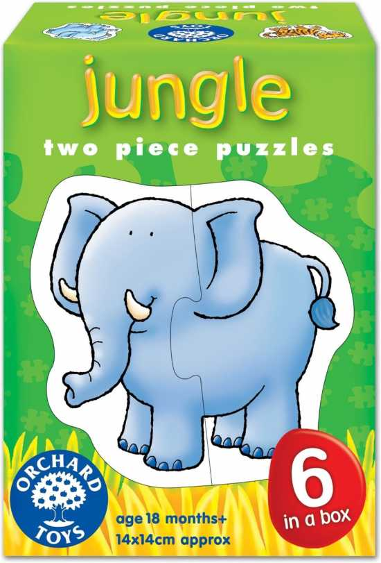 JUNGLE ANIMAL TWO PIECE PUZZLE JIGSAWS PUZZLE
