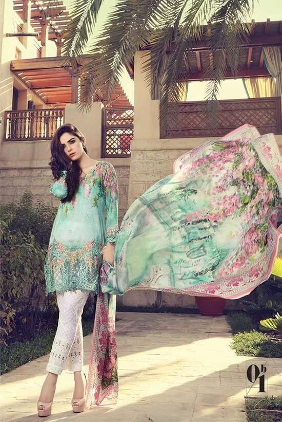 MB-1701A Unstitched Linen 3Pc Embroidered Collection For Women Pakistani...
