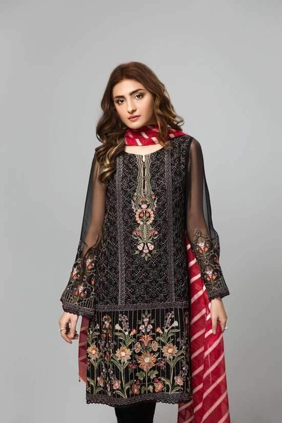 3Pc Unstitched Embroidered  Lawn Suit  For Women Summer Collection