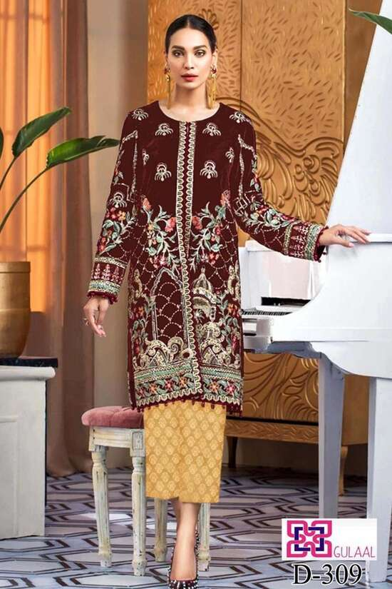 D-309 Camel Color Embroidered Velvet two piece Winter Collection