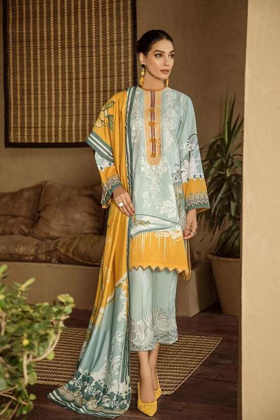 3Pc Embroidered  Lawn Suit  For Women Summer Collection