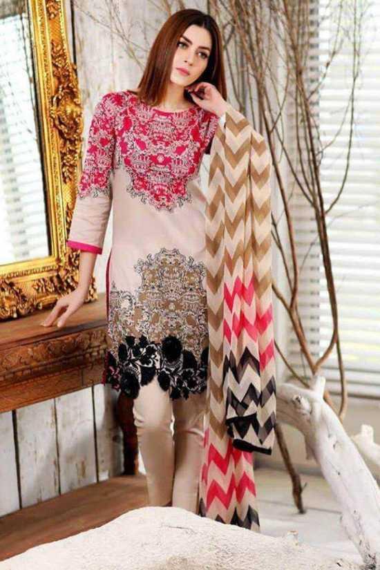 Cr-34A Unstitched Linen 3 Piece Embroidered Women's Shalwar Kameez Dress for...