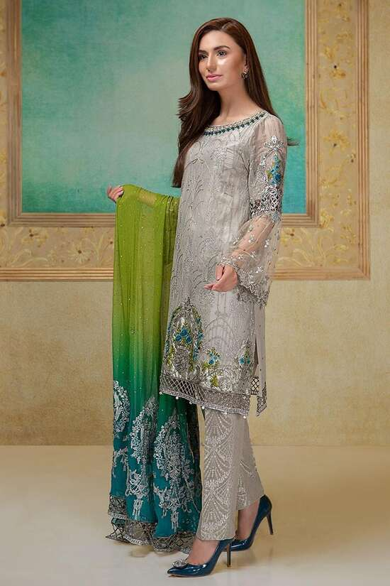 2Pc Embroidered  shaffon Suit  For Women Summer Collection