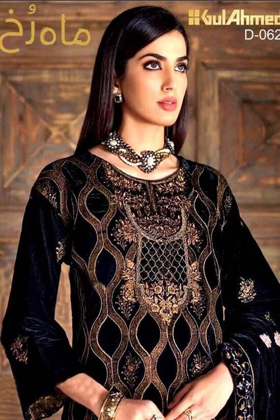 D-062 Black Embroidered Velvet two piece Winter Collection