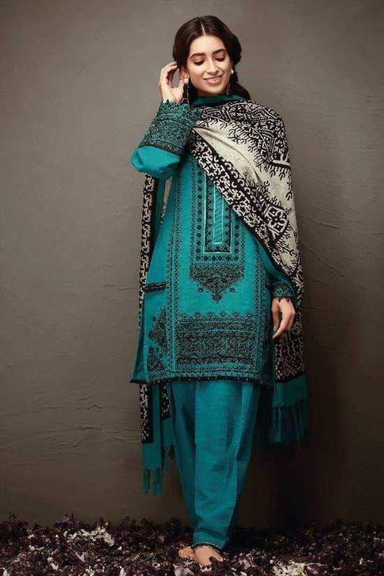 KO18403 Unstitched linen 3 Pieces Embroidered Women's Shalwar Kameez Dress...