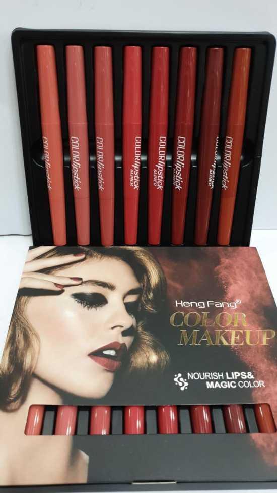 Heng Fang Lipstick + Lip liner 2 in 1 8 Piece Set